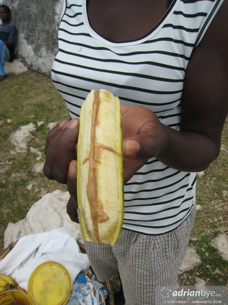 A haitian food - banana with spicy peanut butter!